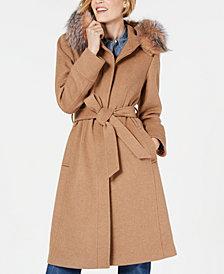 1 Madison Expedition Belted Fox-Fur-Trim Walker Coat
