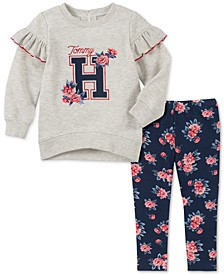 Toddler Girls Ruffled Sweatshirt & Floral-Print Leggings Set