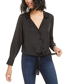 Button-Front Tie-Waist Blouse, Created for Macy's