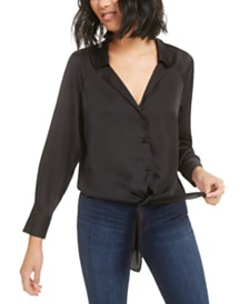 Bar III Button-Front Tie-Waist Blouse, Created for Macy's