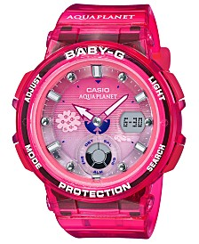 Baby-G Women's Analog-Digital Aqua Planet Pink Resin Strap Watch 41mm, A Limited Edition