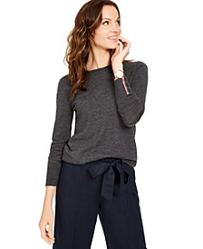Merino Wool  Button-Cuff Crewneck Sweater, Created for Macy's
