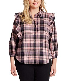 Trendy Plus Size Sadie Double-Ruffle Plaid Button-Front Top