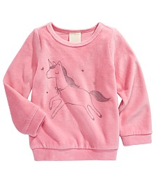 First Impressions Baby Girls Unicorn-Print Velour Top, Created for Macy's