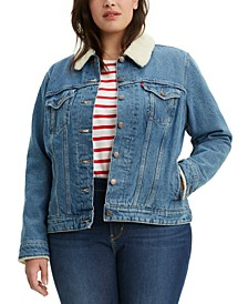 Plus Size Fleece-Lined Denim Jacket