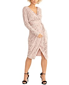 Silvia Pleated Faux-Wrap Dress