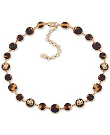 "Lauren Ralph Lauren Gold-Tone & Tortoise-Look Crest Collar Necklace, 16"" + 3"" extender"