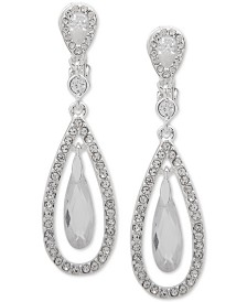 Lauren Ralph Lauren Silver-Tone Crystal Orbital Clip-On Drop Earrings