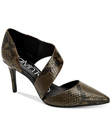 Women's Gella Snake-Print Asymmetrical Dress Pumps