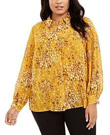 Plus Size Printed Blouse, Created for Macy's