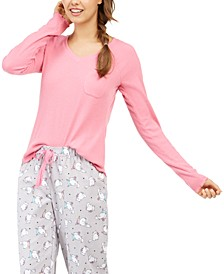 Women's Ribbed Knit Pajama Top, Created For Macy's