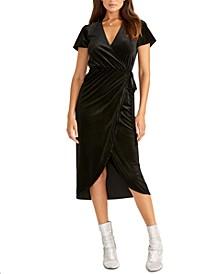 Faux-Wrap Midi Dress