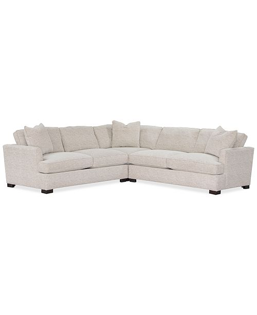 """Furniture Juliam 3-Pc. Fabric """"L"""" Shape Sectional Sofa, Created for Macy's"""