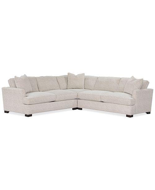 3 Pc Fabric L Shape Sectional Sofa