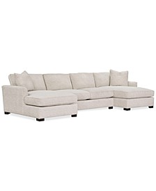 Juliam 3-Pc. Fabric Double Chaise Sofa, Created for Macy's