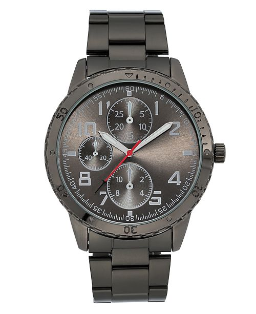 INC International Concepts INC Men's Dark Gunmetal Gray Bracelet Watch 45mm, Created for Macy's