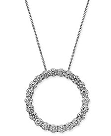 "Certified Diamond Open Circle Pendant Necklace (4 ct. t.w.) in 14k White Gold, 16"" + 2"" extender"