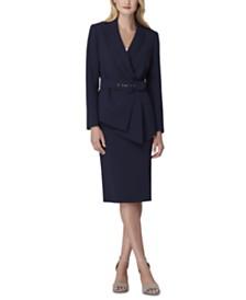 Tahari ASL Petite Asymmetrical Belted Skirt Suit