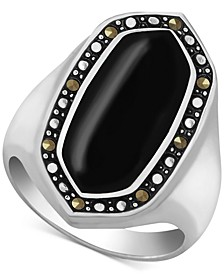Genuine Swarovski Marcasite & Onyx Statement Ring in Fine Silver-Plate (Also in Mother-of-Pearl, Reconstituted Turquoise & Paua Shell)