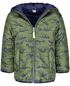 Toddler Boys Dinosaur-Print Reversible Hooded Jacket