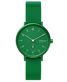 Skagen Women's Aaren Kulor Green Silicone Strap Watch 36mm