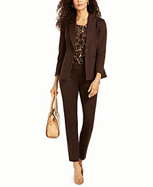 One-Button Notch-Collar Jacket, Abstract-Print Sleeveless Top & Ponte-Knit Slim Pants