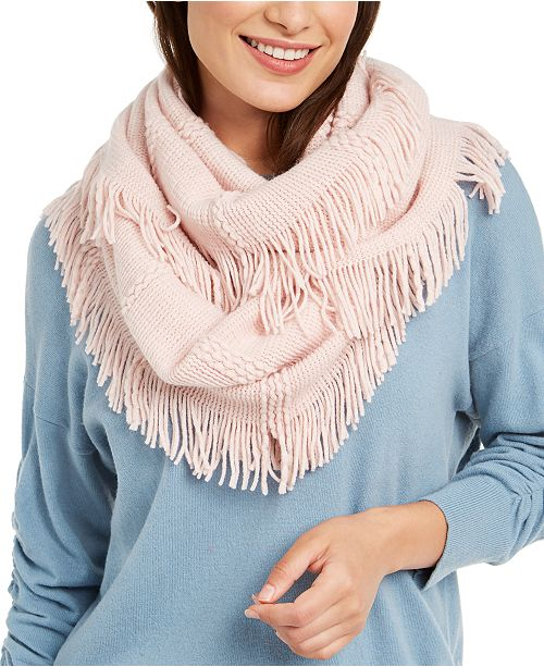 INC International Concepts INC Raschel-Knit Loop Scarf With Fringe, Created for Macy's
