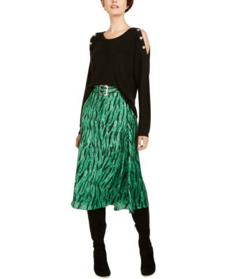 INC Belted Printed Midi Skirt, Created for Macy's