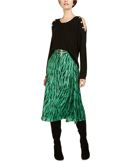 INC International Concepts I.N.C. Cold-Shoulder Sweater & Midi Skirt, Created for Macy's