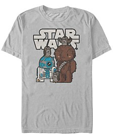 Star Wars Men's Cute Cartoon Chewie R2-D2 Porg Friends Short Sleeve T-Shirt