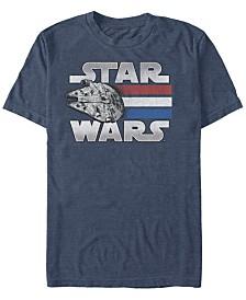 Star Wars Men's Classic Patriotic Millennium Falcon Short Sleeve T-Shirt