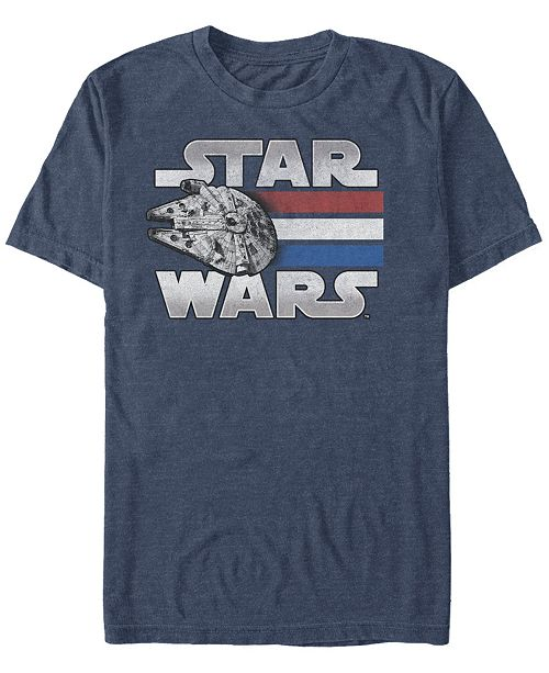 Star Wars Men's Classic Patriotic Millennium Falcon Short Sleeve T-Shirt
