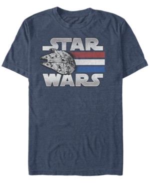 Men's Star Wars Red White Blue Stripes Falcon Short Sleeve T-shirt