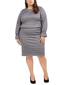 Plus Size Metallic-Plaid Top & Skirt