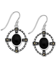 Genuine Swarovski Marcasite Onyx Cross Oval Drop Earrings in Fine Silver-Plate (Also in Turquoise)