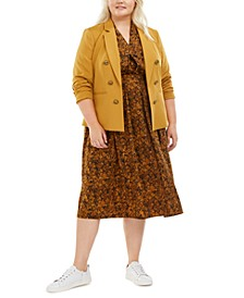 Plus Size Faux-Double-Breasted Jacket, Snake-Print V-Neck Top & Snake-Print Pleated A-Line Skirt, Created for Macy's