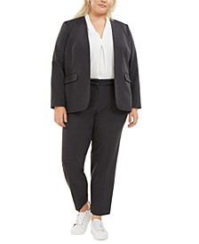 Plus Size Open-Front Blazer, V-Neck Blouse & Ankle Pants, Created for Macy's