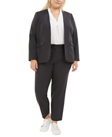 Bar III Plus Size Open-Front Blazer, V-Neck Blouse & Ankle Pants, Created for Macy's