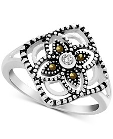 Genuine Swarovski Marcasite & Crystal Flower Statement Ring in Fine Silver-Plate