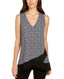 Karen Kane Leopard Printed Asymmetrical Sheer-Hem Top