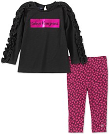 Little Girls 2-Pc. Ruffled Tunic & Printed Leggings Set