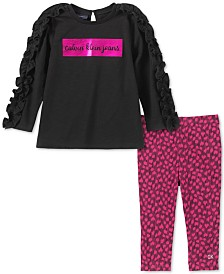 Calvin Klein Little Girls 2-Pc. Ruffled Tunic & Printed Leggings Set