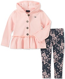 Calvin Klein Little Girls 2-Pc. Fleece Jacket & Printed Leggings Set