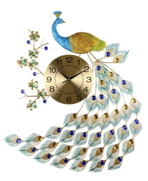 Three Star Peacock Metal Wall Clock