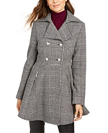 Plaid Double-Breasted Skirted Peacoat