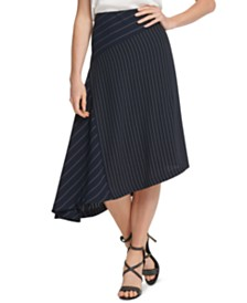 DKNY Asymmetrical Striped Skirt