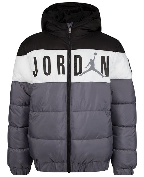 Jordan Toddler Boys Hooded Colorblocked Puffer Jacket