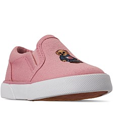 Polo Ralph Lauren Toddler Girls Bal Harbour II Bear Slip-On Casual Sneakers from Finish Line
