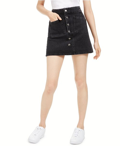 OAT Denim Button-Fly Mini Skirt