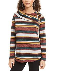 Juniors' Striped Split-Cowl Sweater